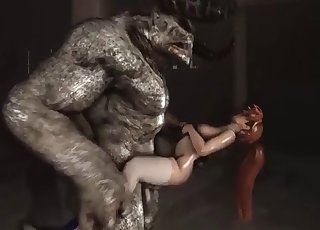 Tight cunt fucked hard by a satanic 3D monster