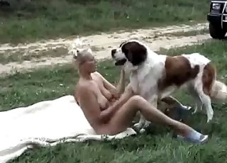 Nice outdoor bestiality with a trained animal