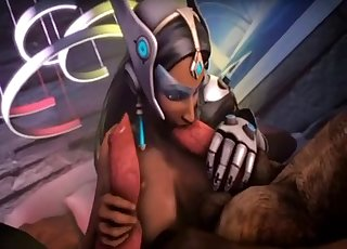 Overwatch-looking chick blows dogs